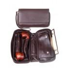 Сумка P&A для 2 трубок и табака, натуральная кожа, подарочная упаковка, коричневая