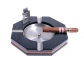 Пепельница Tom River на 4 сигары с гильотиной, Черный лак