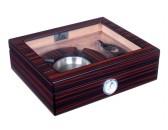 Хьюмидор Lubinski на 25 сигар со стеклом и подарочным набором, Эбеновое дерево  (уценка)