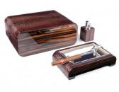 Настольный набор сигарных аксессуаров Gentili - SET-SV75-LE-Croco-dark