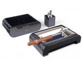 Настольный набор сигарных аксессуаров Gentili -  SET-SV10-Croco-Black