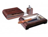 Настольный набор сигарных аксессуаров Gentili -  SET-SV10-Croco-Brown