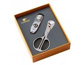 Подарочный набор: ножницы и зажигалка для сигар с  пробойником, арт. AFN-L508SET
